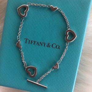 "Tiffany & Co. Heart Toggle Bracelet Retired  7.25"""